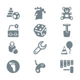 Gray icon set children toys and games Royalty Free Stock Photo