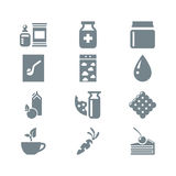Gray icon set gastronomy Royalty Free Stock Photos