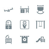 Gray icon set places for child Royalty Free Stock Photography