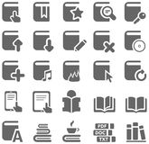 Gray icons of books and literature Stock Images