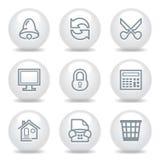 Gray icons set 8 Royalty Free Stock Photos