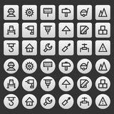 Gray icons set repair construction Royalty Free Stock Photos