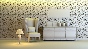 Gray interior. A gray 3d interior composition Royalty Free Stock Photo