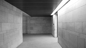 Gray interior. Corridor with a long lamp Royalty Free Stock Images