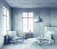 Gray  interior. Royalty Free Stock Photography