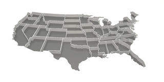 Gray Inverted United States Map. A gray United States map with inverted states. isolated on a white background with a clipping path Royalty Free Stock Photo