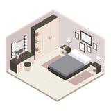 Gray Isometric Bedroom Interior Fotografia Stock Libera da Diritti