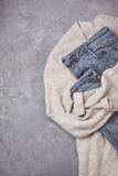Gray jeans,   beige cardigan view from above Royalty Free Stock Photo