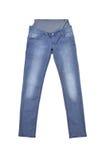 Gray Jeans para las mujeres embarazadas aisladas en blanco fotografía de archivo libre de regalías