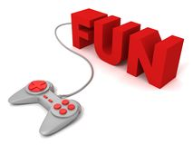 Gray joystick red buttons with concept FUN text letters Royalty Free Stock Photos