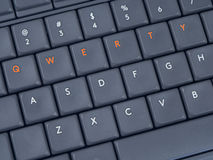 Gray keyboard with highlighted qwerty buttons from top. View royalty free stock photos