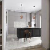 Gray Kitchen Interior contemporaneo urbano moderno Immagini Stock