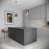 Gray Kitchen Interior contemporaneo urbano moderno Fotografia Stock Libera da Diritti