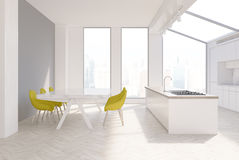 Gray kitchen interior, yellow chairs Stock Photography