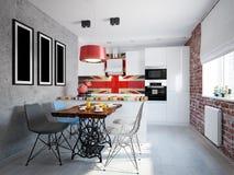 Gray kitchen in loft-style stock illustration