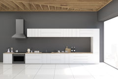 Gray kitchen with panoramic window Royalty Free Stock Image