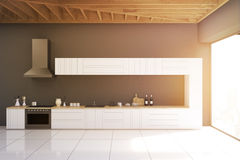 Gray kitchen with panoramic window, toned Royalty Free Stock Photos