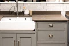 Gray Kitchen Sink. Grey Gray Luxury Bespoke Kitchen Sink Royalty Free Stock Photos