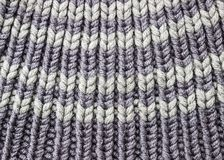 Gray knitted background. Knitted texture. A sample of knitting. Knitted background. Knitted texture. A sample of knitting from wool. Knitting Pattern Royalty Free Stock Photo