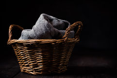 Gray knitted blanket Stock Images