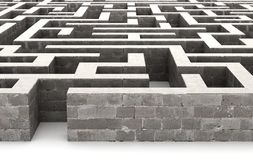 Gray labyrinth, problem solving concept. 3d, illustration Royalty Free Stock Photography