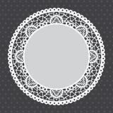 Gray Lace-Doilyhintergrund Stockbilder
