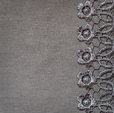 Gray lace on jersey Royalty Free Stock Image