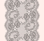 Gray Lace Ribbon Vertical Seamless Pattern. Royalty Free Stock Photo