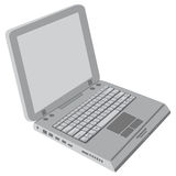 Gray Laptop. A generic gray laptop isolated on white background with blank screen Royalty Free Stock Photo