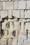 Gray large blocks limestone stones weather-beaten broken powerful hard base substrate web design stock photos