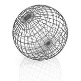 Gray lattice sphere on white background. 3d Royalty Free Stock Images