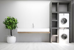 Gray laundry room, sink. Gray laundry room interior with a sink, two washing machines, a tree in a pot and a set of shelves. 3d rendering mock up vector illustration