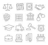 Law line icons. Gray Law line icons set on white background Royalty Free Stock Image
