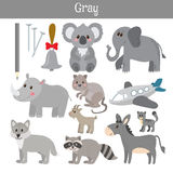 Gray. Learn the color. Education set. Illustration of primary co Royalty Free Stock Photo
