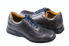 Gray leather man's shoes Royalty Free Stock Photography