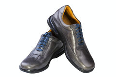 Gray leather man's shoes Royalty Free Stock Photos