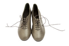 Gray leather shoes with laces Stock Photo