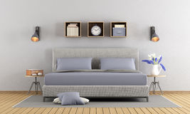 Gray and lilac master bedroom Stock Images