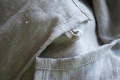 Gray linen fabric close-up Stock Photos