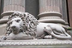 Gray Lion Statue Side Left Photo stock