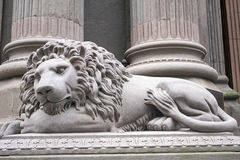 Gray Lion Statue Side Left Stock Photo