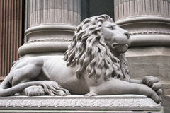 Gray Lion Statue Side Right Stock Images