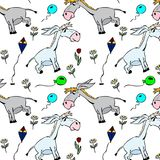 Gray little donkeys and balloons with flowers. Seamless pattern isolated on white background Stock Photos