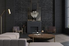 Gray living room, fireplace. Gray brick living room interior with a wooden floor, large windows, a fireplace and a sofa near a round coffee table. 3d rendering Stock Photography