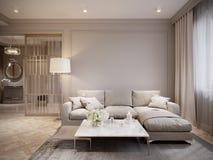 Gray Living Room Interior Design beige moderno ilustración del vector