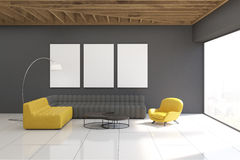 Gray living room interior with gallery Royalty Free Stock Photos