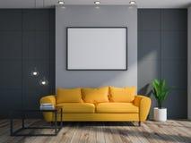 Gray living room interior, sofa, poster vector illustration
