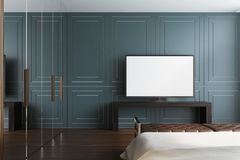 Gray living room, TV set. Modern living room interior with gray walls, a wooden floor, a glass wardrobe and a flat screen TV set on a lowboard cabinet. 3d Stock Photography