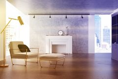 Gray living room, white armchair, fireplace toned Stock Photo