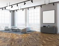 Gray living room white sofa, poster side view vector illustration